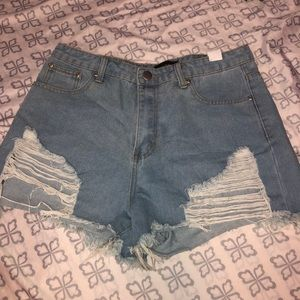 PLT High-Waisted Distressed Denim Shorts